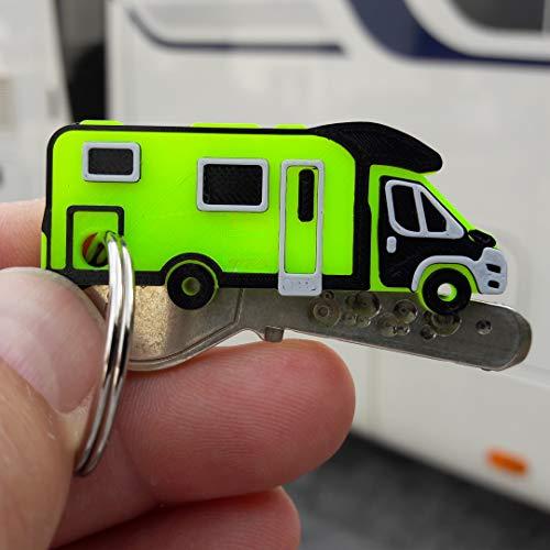 3x Schlüsselanhänger Wohnmobil Reisemobil Kastenwagen Campingbus mit Schlüsselring vernickelt 26mm (Typ Teilintegriert Jumper, Neon Gelb)