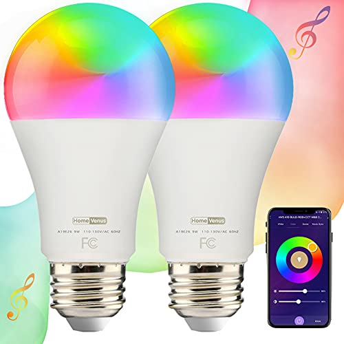 HVS Smart Light Bulb, 9W(100W Equivalent) A19 E26 RGB Color Changing LED Light Bulb with Music Sync Controlled Via WiFi & Bluetooth, Dimmable Tunable White, Works with Alexa Google Assistant, 2 Pack