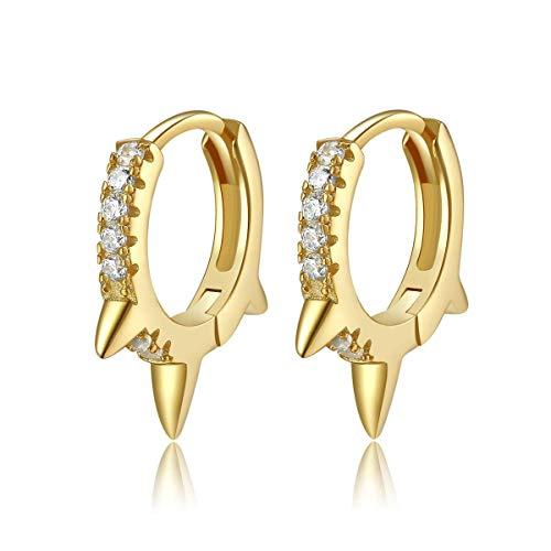 Pendientes de aro Spike Huggie, pequeños pendientes de plata de ley 925 chapados en oro de 14K Pendientes minimalistas delicados (Oro)