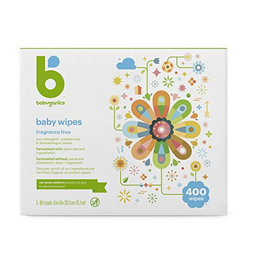 Product Image of the Babyganics Baby Wipes, Unscented, 400 Count, (5 Packs of 80)