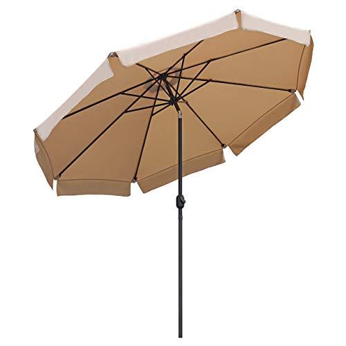 Sekey® Sonnenschirm Ø 300 cm Marktschirm Gartenschirm Terrassenschirm Taupe Rund Sonnenschutz UV50+