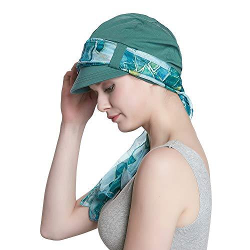 Alnorm Kopftuch für Frauen Chemo Baseballmütze aus Baumwolle Sonnenhut Visier