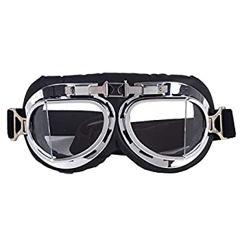 Vintage Motorcycle Cruiser Scooter Goggle Ski Snowboard Bike Racer MTB Bicycle Glasses Silver