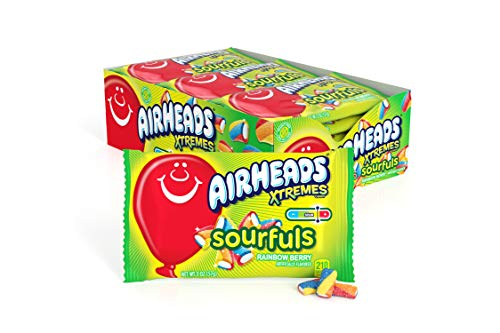 Airheads Xtremes Sourfuls Candy Bag, Rainbow Berry, Non Melting, Bulk Party Bag, 2 oz (Pack of 18)
