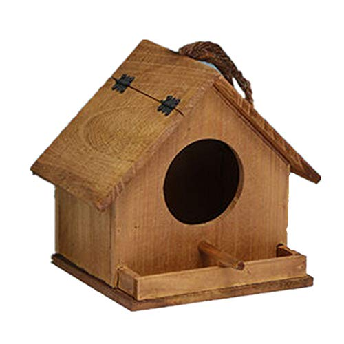 Nichoir à Oiseaux Fait à la main d'extérieur Oiseau décoratif Maison d'extérieur Hut Bird House Bird House Chalet extérieur Maison d'oiseau de jardin classique ( Couleur : Jaune , Size : Free size )