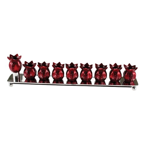 Quality Judaica Aluminum Base Hanukkah Menorah with Pomegranate Candle Holders, Red