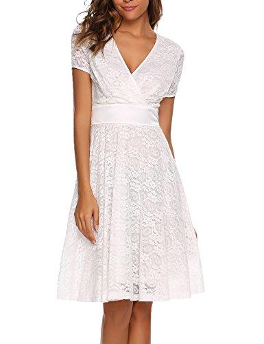 ACEVOG Damen Elegant Spitzenkleid Abendkleid Cocktailkeid Sommerkleid Swing Kleid A Linie V Ausschnitt Festlich Knielang Schwarz Weinrot Weiß GR.S-XXL