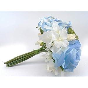10″ Bouquet Blue Cr. Rose Dahlia Hydrangea Bundle Artificial Silk Flowers LivePlant