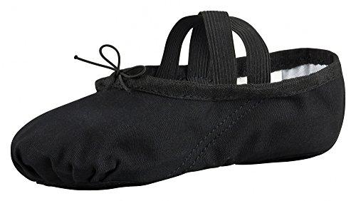 tanzmuster ® Ballettschuhe Mädchen Ballettschläppchen - Charlie - Geteilte Ledersohle, schwarz, Größe:40