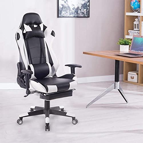 HXJU E-Sports - Sedia ergonomica da gioco, sedia da ufficio con poggiatesta lombare, sedia girevole E-Sports con stile Racing in pelle PU, colore: Bianco