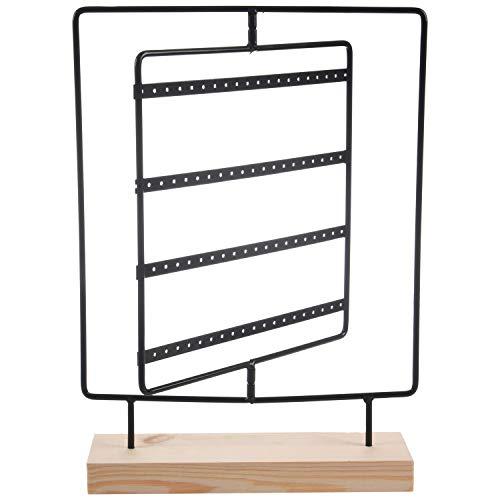 Fransande Soporte giratorio para pendientes con base de madera, soporte de metal para pendientes, exhibición de joyería de 76 agujeros