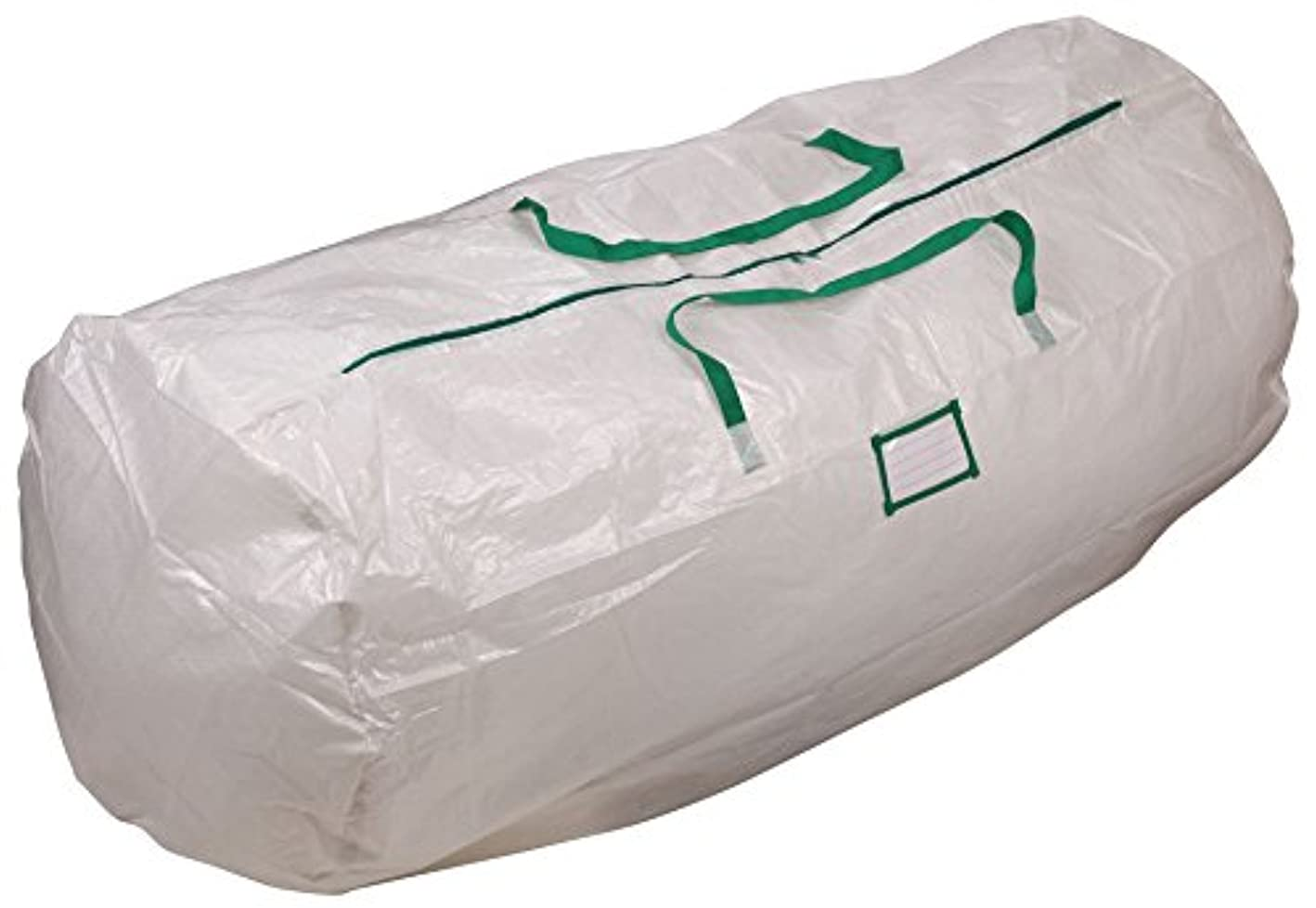Household Essentials 6032 MightyStor Artificial Christmas Tree Storage Bag with Handles   White with Green Trim