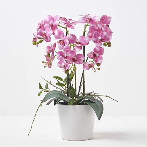 Homescapes große Kunstorchidee im Topf, hochwertige künstliche Orchidee mit rosa Blüten, Deko-Orchidee Phalaenopsis im weißen Keramiktopf, dekorative Kunstblume, 54 cm hoch