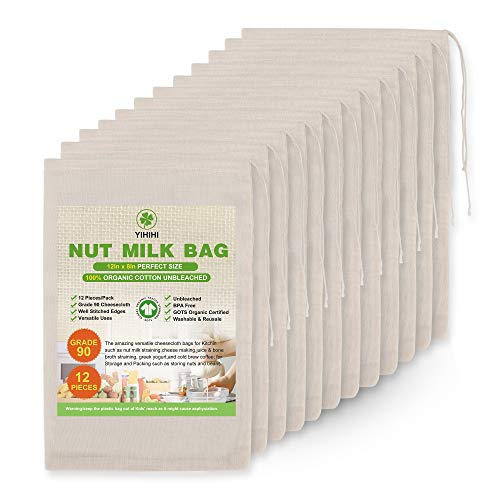 Yihihi 100% Organic Cheesecloth Bags Premium Nut Milk Bags 8quot x 12quot 12 Pieces Unbeached Natural Strainer and Filter for Soup Broth Tea Yogurt Juice and Coffee Reusable Cloth Bags for packing