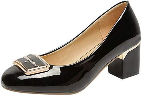 Klassischer Pumps Damen Basic Flandell Mittelhohe Elegante Schuhe Frühling Absatzschuhe Celucke (Schwarz, EU35)