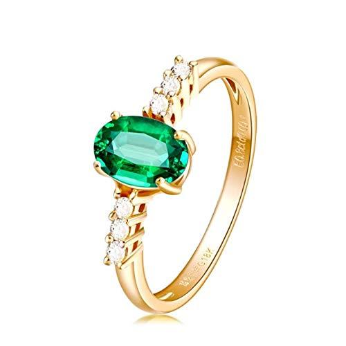 Aimrio Eheringe 18 Karat Gelbgold Ring, Damen Ringe Echtes Gold 750 mit Smaragd und Diamant Verlobung Ring Damen 0.8 carat Größe 56 (17.8)