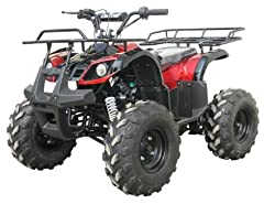 TAO TAO - TFORCE - 110CC, Air cooled, 4-stroke, 1-cylinder and automatic with REVERSE and UPGRADED BIG TIRES 19X7-8 . Rear Tire : 18X9.5-8. Seat Height(inch): 29 Ground Clearance(inch): 6 Front Hand Brake: Drum Rear Foot Brake: Hydraulic Disc. Suspe...