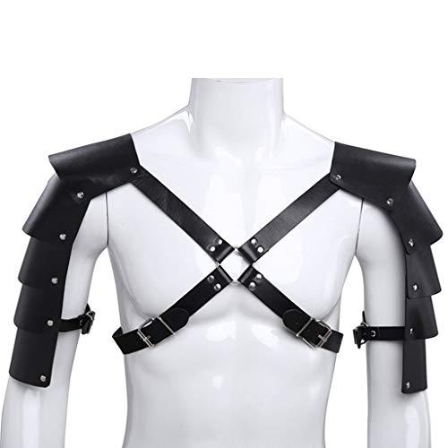 JOYKK Heren Ridders Faux Lederen Kruis Body Borst Harnas Riem Schouderbeschermer Cover Band Armor Cosplay Party Kostuum met O-Ringen Studs