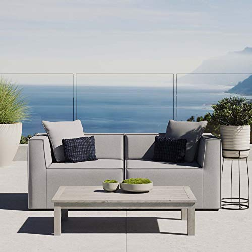 Modway EEI-4377-GRY Saybrook Patio Upholstered 2-Piece Sectional Sofa Loveseat in Gray
