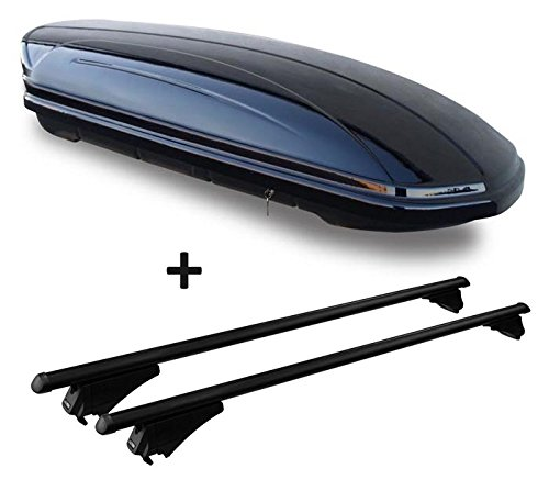 VDP Dachbox schwarz glänzend MAA 460G Auto Dachkoffer 460 Liter abschließbar + Alu-Relingträger Dachgepäckträger aufliegende Reling im Set kompatibel mit Audi A4 (8K) Avant 2008-2014