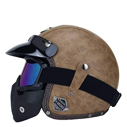 Casco de Motocicleta Harley Retro de Cuero PU Anti Fall Cruiser Chopper Cafe Racer Casco de Ciclismo 3/4 Casco de Moto de Cara Abierta