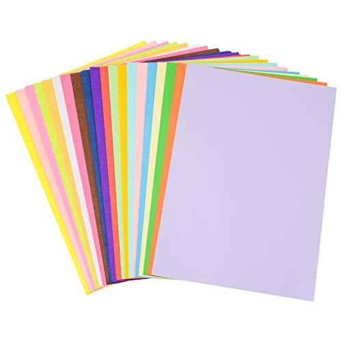 ZITFRI 100Pcs Feuilles Cartonnees Couleur A4 Papier Coloré 20 Couleurs Assorties de Feuille Cartonnée Multicolore A4 pour Enfant Artisanat Canson Couleur Imprimante 210 X 297 mm
