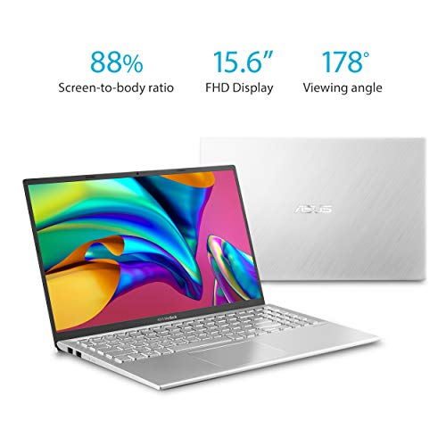 "Asus Vivobook S15 S512 Thin and Light 15.6"" FHD, Intel Core I5-8265U CPU, 8GB DDR4 RAM, 256GB PCIe Nvme SSD, Windows 10 Home, S512FA-DB51, Silver Metal"
