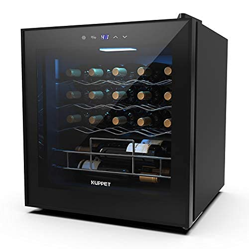 Wine Cooler/19 Bottles Fridge Beverage Refrigerator Small Mini Red & White Wine Cellar Beer Soda.Digital Temperature Display, Double-layer Glass Door, Quiet Operation Compressor