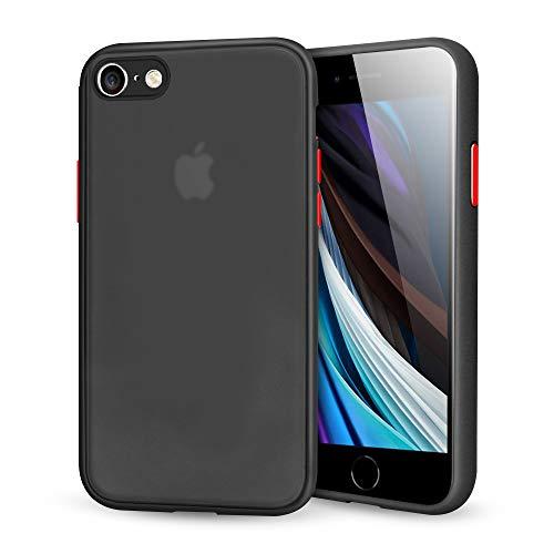 Suhctup Compatible con iPhone 7/8/iPhone SE 2020 Funda de PC Rígida Back Mate Transparente Carcasa con TPU Silicona Bumper Ultrafina Antigolpes Anti-arañazos Protección Caso,Negro