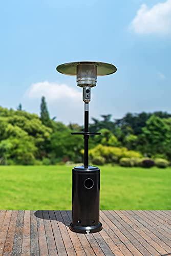 GardenCo Outdoor Gas Patio Heater - Freestanding Outdoor Garden Heater with Drinks Table and Premium Weatherproof Cover - Portable Wheels - 13.5KW (Black)