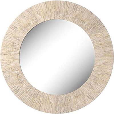 KOUBOO 1040142, Pearlescent White Round Capiz Seashell Sunray Wall Mirror