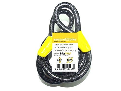 Antirrobo bicicleta: Cable 2,1m x 12mm de acero de doble laz