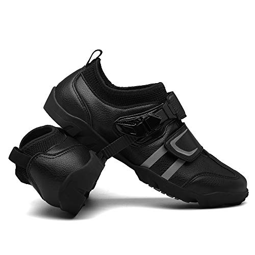 JQKA Zapatillas de Ciclismo MTB para Hombres Mujer Zapatillas De Bicicleta de Montaña Zapatillas Ciclismo Carretera Antideslizantes Respirables Calzado de Ciclismo(Size:46,Color:Negro)