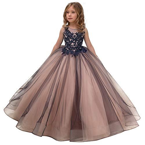 CQDY Niña de Flores Vestidos de Encaje Boda de Dama de Honor Vestido de niña de Flores Fiesta Formal Concurso Vestido de Gala Vestido de Navidad Regalos de cumpleaños