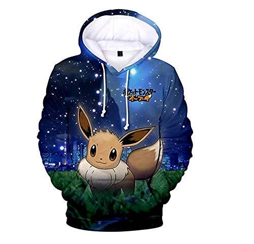 SCHSA Hoodie Sweatshirt Pokémon Pikachu Sunshine Stil 3D-Pullover Hoodie Pokemon Kapuzenjacke Koreanischen Jugend Casual Jacke Anpassbare Muster, Blau, XL