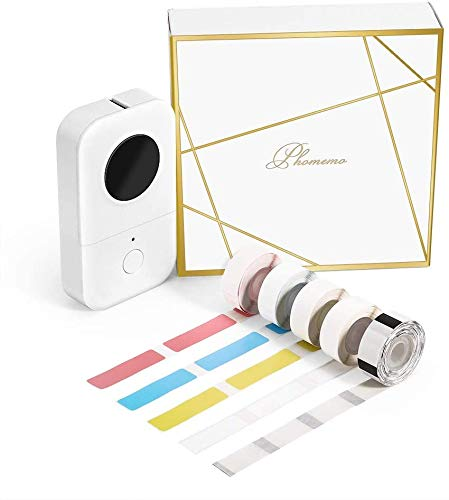Phomemo D30 Bluetooth Etikettendrucker Mini Thermoetikettendrucker tragbares label maker,Geschenkbox mit 5 Rollen Thermoetikettenpapier,Einfache Verwendung für Zuhause,Büro,Schule,Ladengeschäft.Weiß