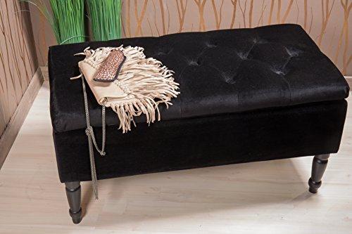 Sitztruhe schwarz mit Beinen, Fichten- und Birkenholz, 80cm - 5