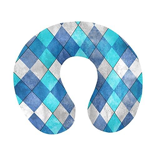 Acuarela Argyle Plaid Pattern Teal Turquesa Diamante Formas Almohada para el cuello de viaje Almohada de espuma viscoelástica para el cuello para aviones domésticos y coche Soporte suave para la barbi