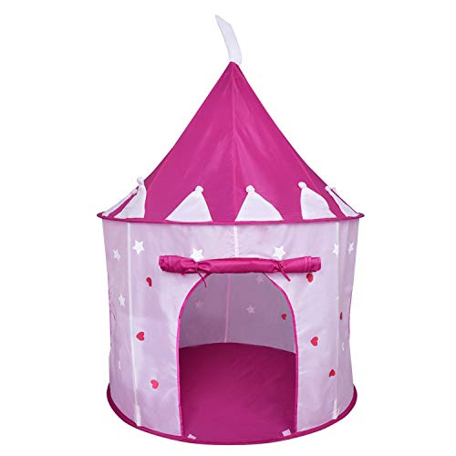 Princess Castle Play Tent with Glow in The Dark Stars Foldable Pop Up Pink Play Tent/House Toy for Indoor Kids Tent & Outdoor Children Tent Girls Gifts