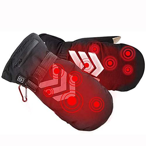 BDXZJ Beheizbare Ski-Handschuhe Fäustlinge mit Akku, Beheizte Fausthandschuhe für Damen Herren/beheizbarer Outdoor Work, Skiing, Motorcycle, Hunting