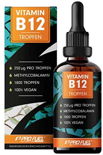 Vitamin B12 Tropfen - 1800 Tropfen (50ml) - bioaktives Methylcobalamin B12 - optimal hochdosiert mit 500mcg B12 - ohne Konservierungsstoffe oder Alkohol - 100{c33ca1acd603cf5891ec215994b47dd84c19ec4251faf6ad2869ea7142ce165a} vegan