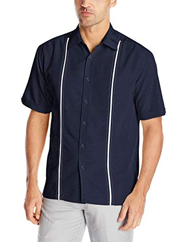 Cubavera Mens Contrast Insert Stitching Short Sleeve Woven Shirt,Dress Blues,XX-Large