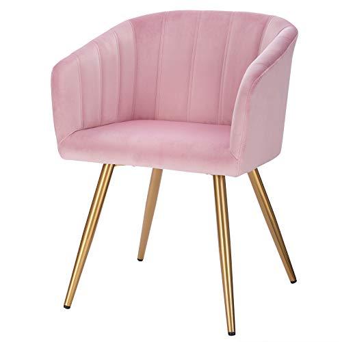 EUGAD 0661BY-1 Esszimmerstühle 1x Küchenstuhl mit Rückenlehne, Samt Gestell aus Stahl, Besucherstühle für ESS- und Wohnzimmer Gold Beine Rosa