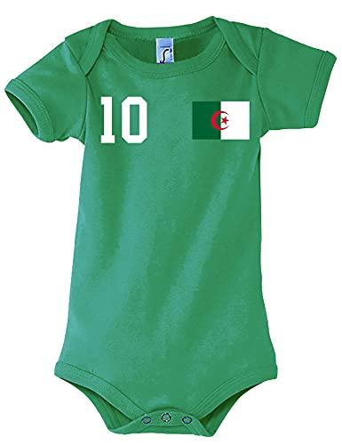 Kinder Baby Strampler Shirt Algerien mit Wunschname + Nummer - Grün 6-12 Monate