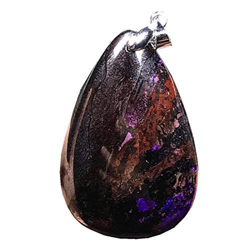 DUOVEKT Sugilite colgante de plata de ley, natural de piedra de sugilita púrpura real para mujeres y hombres, cuentas de cristal de 40 x 26 x 8 mm, piedras preciosas curativas de Sudáfrica AAA