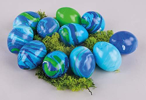 Rayher 35026000 Marmoriefarbe, Marble Set mit Marmorierfarben, Kunststoffeiern und Spießen, 3 Farbtöne, einfach und schnell entstehen marmorierte Ostereier, Tauchmarmorieren