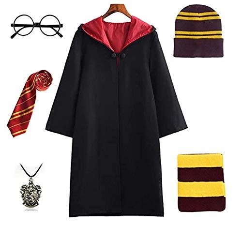STRDK.Kostüm Kinder Erwachsene Umhang Unisex Gryffindor Hufflepuff Ravenclaw Slytherin Outfit Set Cape,Krawatte,Hemd,Rock/Hose Fasching 115-185CM