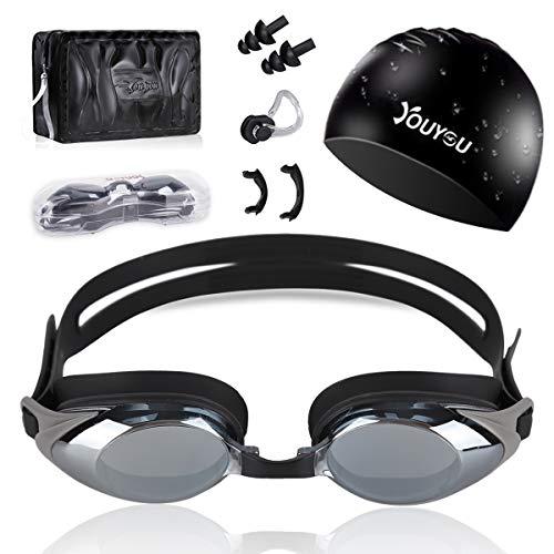 HAISSKY Schwimmbrillen für Erwachsene Kinder, Anti-Fog UV-Schutz beschichteter Linse Kein Auslaufen Schwimmen Brillen,Geschenke Nasenklammer,Ohrstöpsel & Badekappe (Schwarz)