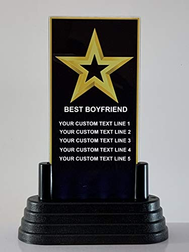 Express Medals LED Light Up Acrylic Best Boyfriend Gold Star Black Background Trophy Plaque with 5 Lines of Your Personalized Custom Text