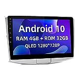 ISUDAR Android 10 Radio de coche para VW/Volkswagen/Passat B7 con pantalla QLED de 10,1 pulgadas Nave DDR4 de 8 núcleos GPS 1080P Video Carplay Bluetooth 4G WiFi DSP con control rueda USB DAB no 2 din